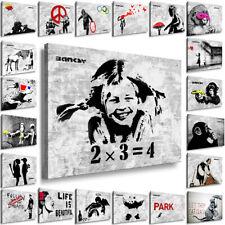 BANKSY Ideen Collage Bilderreihe LEINWAND OHNE KEILRAHMEN Streetart Wandbild