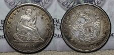 1878 CC Seated Liberty Quarter 25c Great Details Old Cleaning !!