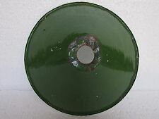 Vintage Enamel Porcelain Green & White Electrical Light Lamp Shade, Collectible