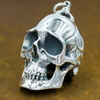 100g very huge heavy skull 925 sterling silver ag authentic genuine mens pendant