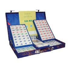 Cinesi Mahjong-Piccolo Set-Bone + Bamboo Piastrelle-Broccato caso