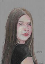 original drawing A4 136RE art samovar Realism pastel female portrait Signed 2021