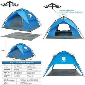 Night Cat Waterproof Camping Tent For 1 2 3 4 Person With Footprint Tarp Easy In