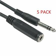 5-PACK 6ft TRS Stereo 1/4 inch (6.3mm) Male to Female Audio Extension Cable