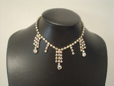 vintage rhinestone choker Ab stones with dangle design