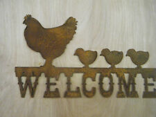 FREE SHIPPING Rustic Rusted Metal Welcome with Hens Sign Wall Hanging