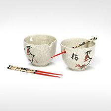 Reisschalen chinesisch asiatische  Porzellan Keramik weiß Schale Stäbchen