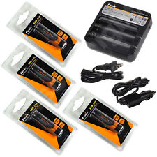 Four Genuine Fenix ARB-L2S 3400mAh 18650 Batteries with Fenix ARE-C1 Charger New