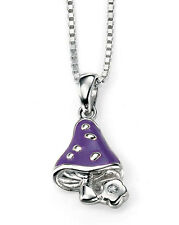 Plata De Ley ' D ' Para Diamante Esmalte Púrpura Hongo Colgante P4184