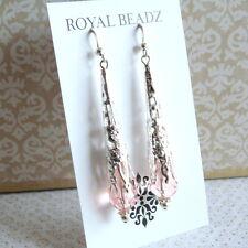 Victorian BoHo Steampunk Style Pink Crystal Teardrop Silver Filigree Earrings