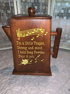 "MCM Wooden Teapot Soap Powder Dispenser ""I'm A Little Teapot"" Music Notes 1950's"