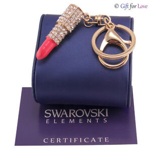 Portachiavi oro donna Swarovski Elements originale G4Love cristalli rossetto