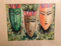 Balinese Women Watercolor Hand Painted Wall Hanging Signed Agung 1993, MB155
