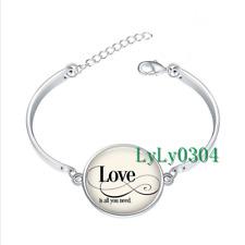 Love is all you need glass cabochon Tibet silver bangle bracelets Fashion