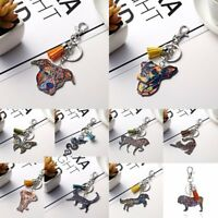 Women Animal Dog Cat Horse Printing Keychain Keyring Tassel Bag Accessories New