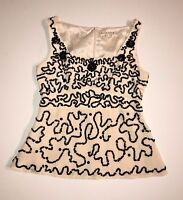 Nanette Lepore Silk Sequin Embroidered Embellished Blouse Tank Top Shirt Size 8