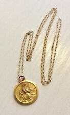 Lovely Vintage Solid 9 Carat Gold Saint Christopher Pendant & 9 Carat Fine Chain