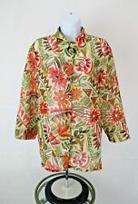 Alfred Dunner Womens Orange Green Floral Print Button Up Semi Sheer Top Sz 14