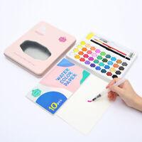 Watercolor Pan Tin Case Palette Paints Set 36 Color with Pencil Paper Pink