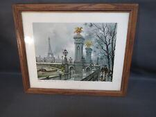 Ancien cadre en bois et dessin Paris pont Alexandre III old frame drawing