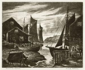 Original etching by Frank Fellner, Down in Maine, c.1930's