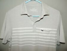 Vineyard Vines Mens Gray Stripe Edgartown Whale Pima 100% Cotton Polo Shirt SZ S