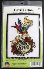 """New - Counted Cross Stitch Kit - LOVE TATTOO - 5"""" x 7"""" Bird Heart Tattoo"""