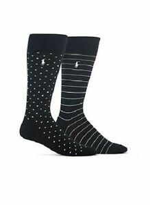 POLO RALPH LAUREN Mens Patterned Socks 2 Pair Pack Black $20 - NWT
