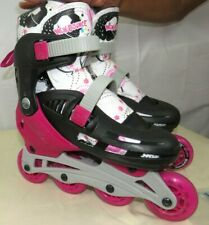 New Bounce Unisex Kids Inline Skates Black Pink 4 Wheel Blades Medium 2 - 5 Us