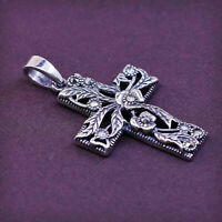 Sterling silver handmade pendant, 925 cross w/ marcasite details