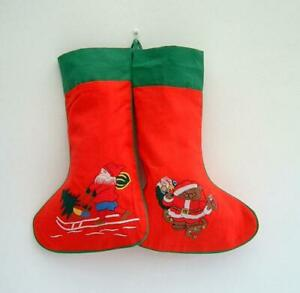 NEW Pretty Hand Embroidered Christmas Stockings Set