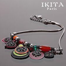 Luxus Statement Kette IKITA Paris Halskette Emaille Strass Glas Collier Metall