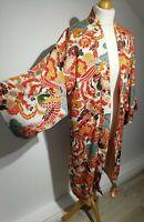 Zara TRF Size S-M Red Oriental Long Kimono Jacket Outerwear Floral Bird