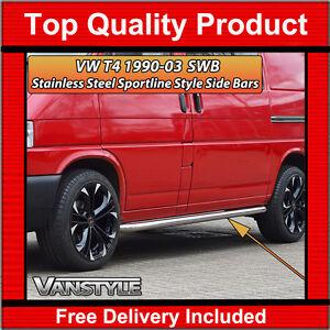 FITS VW T4 TRANSPORTER 90-03 SWB SPORTLINE SIDE BARS OEM QUALITY STAINLESS STEPS