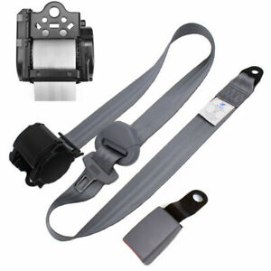 Nylon Safety Seatbelt Extender Adjustable Car Seat Lap Belt 3 Point Buckle Gray