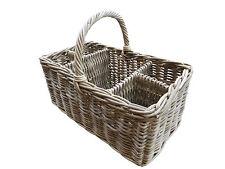 Grey Buff Rattan Picnic Bottle Basket Hamper Storage Baby Wine Food Concert