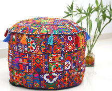 """18"""" Indian Vintage Blue Patchwork Ottoman Round Pouf Cover Floor Footstool Case"""