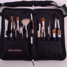 makeup brush organizer. Black faux leather travel case. (brushes not included)