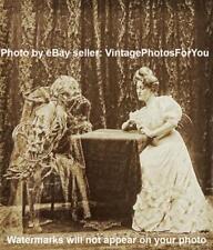 Vintage/Old/Antique 1800s Creepy/Weird/Strange Skeleton/Woman Play Cards Photo