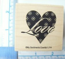 My Sentiments Exactly New Wood Mounted Rubber Stamp Love Flower Heart