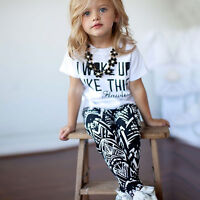 Kids Toddler Baby Girls Summer Top + Pant Outfits Casual Tracksuit Age 1-7Year