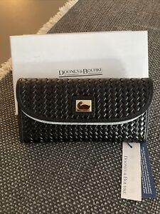 Dooney & Bourke Camden Black Woven Leather Continental Clutch Wallet NWT $148