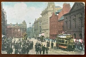 High Street Dundee Scotland Postcard Trams National Series Dundee Postmark 1904