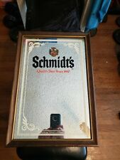 Vintage Bar Mirror Sign Schmidt's Quality Beer Since 1860 Glass with wood frame