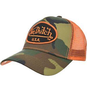 Von Dutch Los Angeles USA Tarnfarbe + Orange Netz Snapback Trucker Kappe