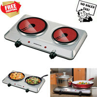 Electric Cooktop Burner Infrared Ceramic Glass Hot Plate 2 Two Cooking Stove