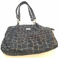 Baggallini Medium Giraffe Print Handbag Satchel Brown Tan Pockets Travel