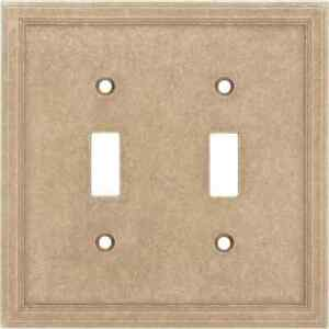 SOMERSET 2 Gang Double Toggle Light Switch Cover Wall Plate Natural Stone SIENNA