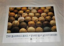 "Vtg 1989 Poster BASEBALL HALL of FAME 50th ANNIVERSARY New York 18""x24"" Sign"