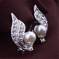 Clip On Creme Elfenbein Perlen und Strass Bolzen Silber Ohrclips Ohrringe